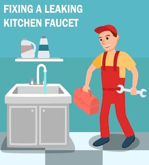 Plomero con llave de caja de herramientas en el interior de la cocina