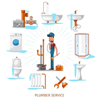 Plomero o ingeniero de mantenimiento en trabajos de plomería. servicio de reparación, ilustración
