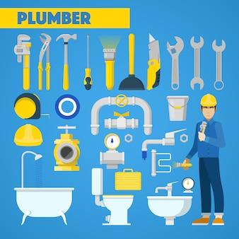 Plomero trabajador con conjunto de herramientas y elementos de baño. íconos