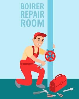 Plomero con válvula de reparación de equipos de plomería