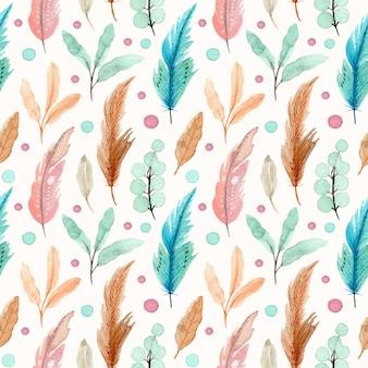 Pluma de acuarela y hojas de patrones sin fisuras
