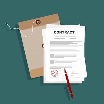 Pluma firmada del acuerdo de contrato del acuerdo de papel en vector plano del escritorio del ejemplo del negocio.