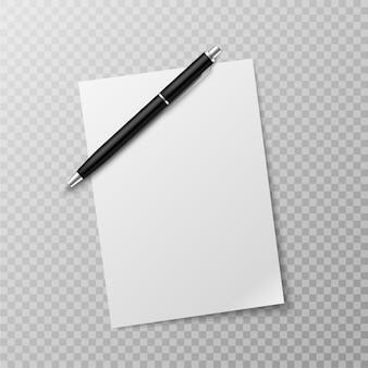 Pluma y hoja de papel. maqueta de vista superior de hoja de papel blanco en blanco y bolígrafo.