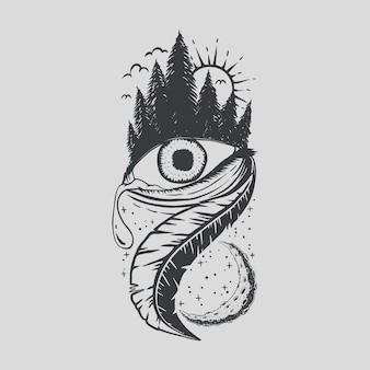 Pluma y ojo con pinos y luna