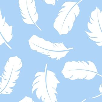 Pluma pájaro mano dibujada patrones sin fisuras fondo vector illus