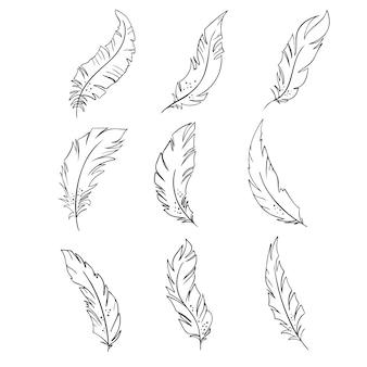 Pluma de pájaros silueta de plumas en blanco y negro para el conjunto de vectores de logotipo