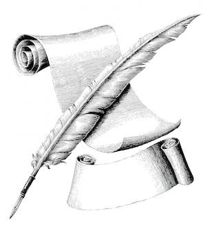 Pluma y papel en blanco con banner dibujo a mano ilustración de grabado vintage, pluma cruzada y estilo de logotipo de papel