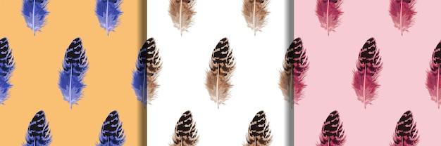 Pluma de patrones sin fisuras para estampados textiles de moda boho repetir fondos