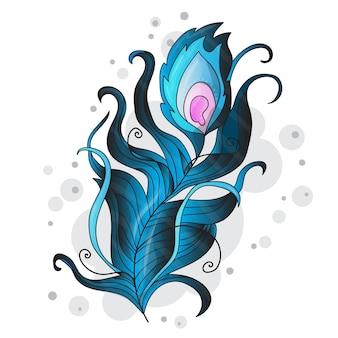 Pluma de pavo real vector estilizada sobre un fondo blanco