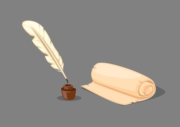 Pluma pluma papel desplazamiento y tinta bien vintage herramientas de escritura símbolo icono conjunto en ilustración de dibujos animados realista