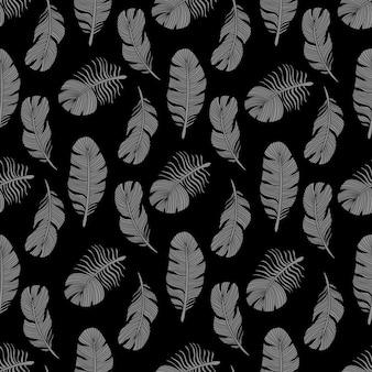 Plumas de aves con estilo de patrones sin fisuras