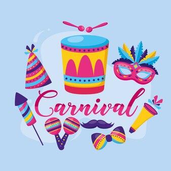 Plumas de carnaval tambor maracas