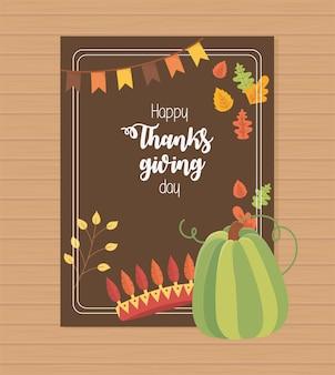 Plumas de corona de calabaza verde deja feliz cartel de acción de gracias