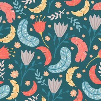 Plumas y flores de patrones sin fisuras