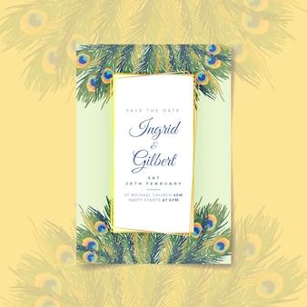 Plumas de pavo real plantilla de invitación de boda