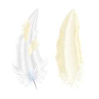 Plumas de plata y oro brillo elementos de estilo boho, plantilla de tatuaje.