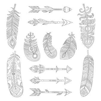 Plumas tribales y colección de flechas. elementos de moda india azteca con diseño tradicional