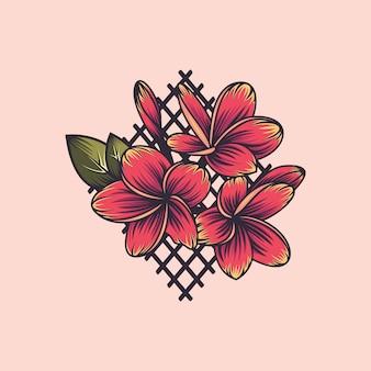 Plumeria flor, bordado