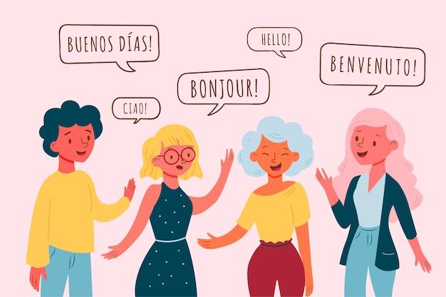 Población hablando en diferentes idiomas.