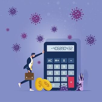 Pobre empresario de pie con calculadora de números negativos