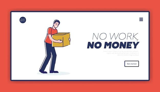 Pobre hombre despedido con caja con pertenencias. sin trabajo, sin concepto de página de destino de dinero