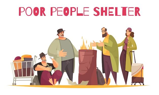 Pobre refugio para personas sin hogar composición cómica plana al aire libre con personas quemándose fuego sobreviviendo frío en la calle