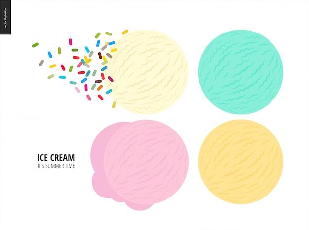 Pocas bolas de helado sobre un fondo blanco.