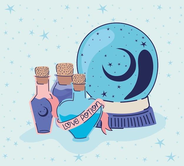 Poción de amor y bola de cristal en un diseño de ilustración azul