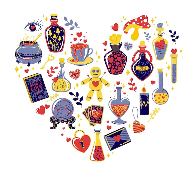 Poción de amor y hermosas botellas en forma de corazón