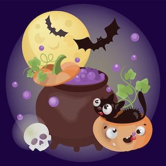 Poción del infierno feliz halloween carácter spooky cook magic pink en bote aislado en conjunto de ilustración oscura