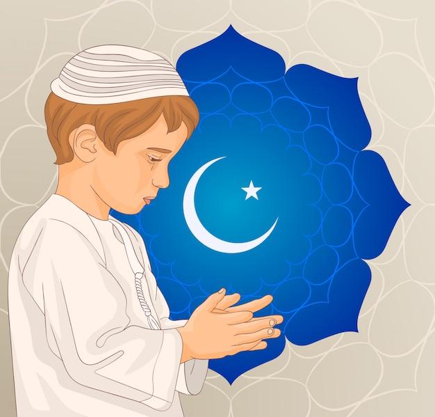 Un poco musulmán rezando