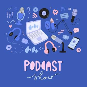 Podcast colección de objetos, herramientas y equipos para la transmisión, ilustraciones dibujadas a mano.