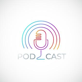 Podcast colorido icono aislado en blanco