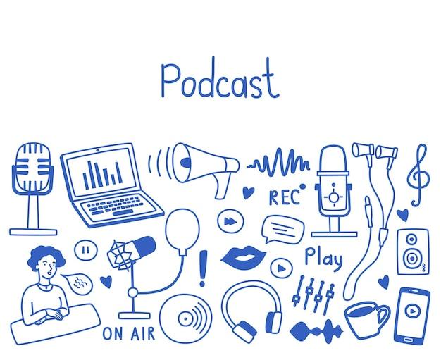 Podcast con espacio de copia, varios micrófonos, equipos, auriculares, audio, imágenes de sonido, vector