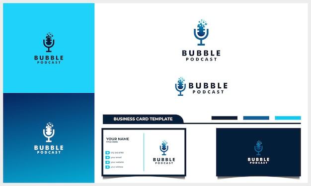 Podcast de micrófono con concepto de diseño de logotipo de burbuja y plantilla de tarjeta de visita