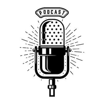 Podcast. micrófono retro sobre fondo blanco. elemento de emblema, signo, logotipo, etiqueta. ilustración