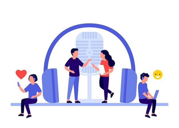 Podcast con personajes de personas en estudio de radio.