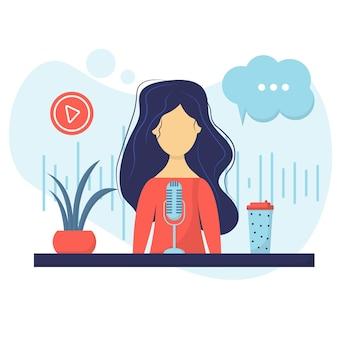 Podcaster mujer personaje divertido mujer feliz hablando con la audiencia podcaster profesional