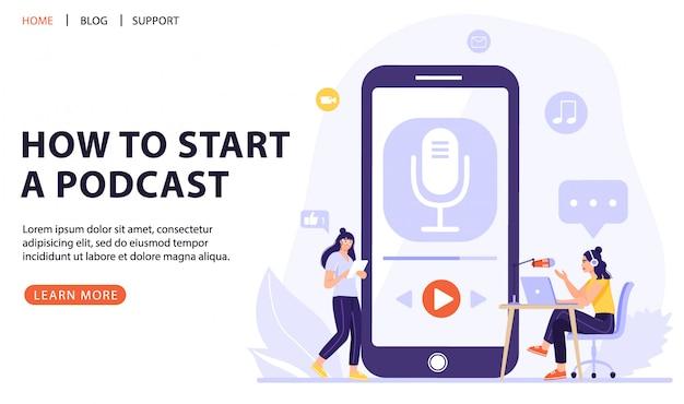 Podcasting, radiodifusión, radio en línea o concepto de entrevista.