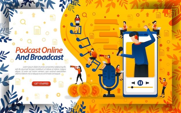 Podcasts en línea y de difusión con ilustraciones de un locutor que sale de un teléfono inteligente