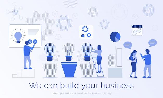 Podemos construir su anuncio de negocios banner plantilla plana