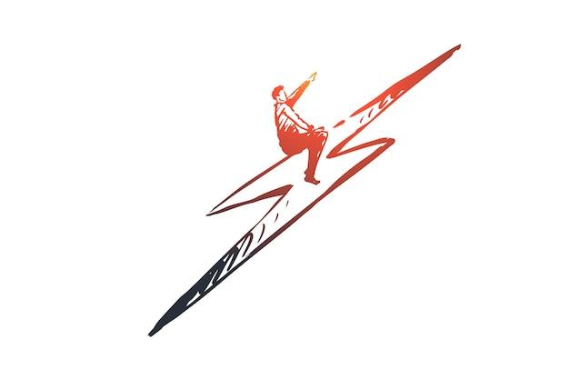 Poder, energía, trueno, concepto poderoso y fuerte. dibujado a mano empresario exitoso en el bosquejo del concepto de trueno.