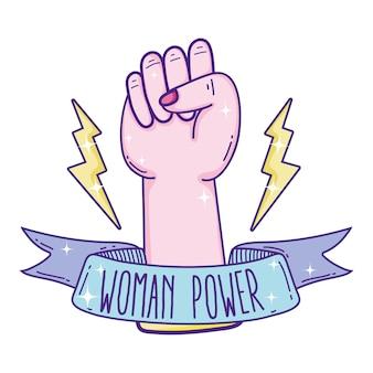 Poder de la mujer con la historieta apretada de la mano