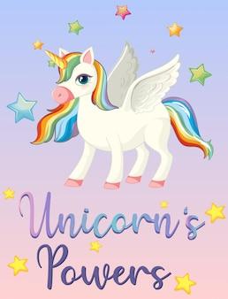 Poder de unicornio en cielo rosa