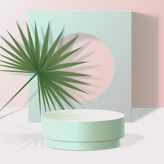 Podio 3d realista en colores pastel