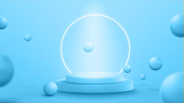 Podio azul con esferas voladoras realistas y anillo de neón en el fondo. escena abstracta azul claro con anillo de neón