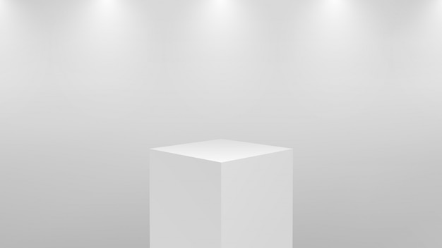 Podio blanco 3d realista para exhibición de productos. pedestal o plataforma cuadrada en iluminación de estudio sobre fondo gris. concepto de escaparate del museo. ilustración.