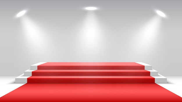 Podio blanco con alfombra roja y focos. pedestal en blanco. escenario para entrega de premios.
