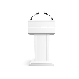 Podio blanco con micrófonos para conferencia.
