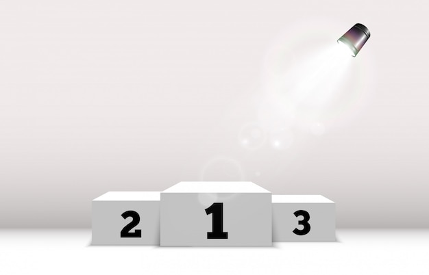 Podio blanco o plataforma con focos. un pedestal para premiar a los ganadores.